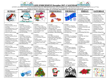 Activity Calendar of St. Francis Senior Ministries, Assisted Living, Nursing Home, Independent Living, CCRC, Tiffin, OH 2
