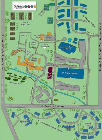 Campus Map of St. Francis Senior Ministries, Assisted Living, Nursing Home, Independent Living, CCRC, Tiffin, OH 1