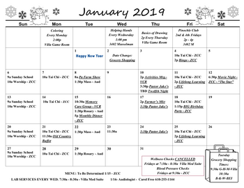 Activity Calendar of Fellowship Community, Assisted Living, Nursing Home, Independent Living, CCRC, Whitehall, PA 2