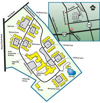 Campus Map of Fellowship Community, Assisted Living, Nursing Home, Independent Living, CCRC, Whitehall, PA 1