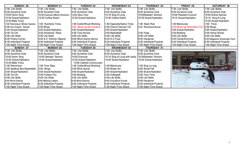 Activity Calendar of Nottingham Village, Assisted Living, Nursing Home, Independent Living, CCRC, Northumberland, PA 8