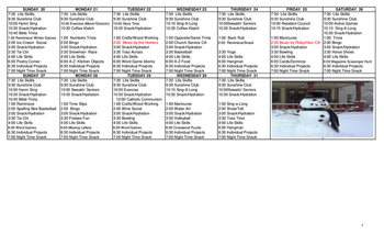Activity Calendar of Nottingham Village, Assisted Living, Nursing Home, Independent Living, CCRC, Northumberland, PA 11