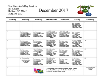 Activity Calendar of Bethel Lutheran Home, Assisted Living, Nursing Home, Independent Living, CCRC, Madison, SD 1