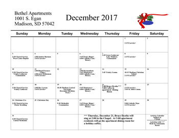 Activity Calendar of Bethel Lutheran Home, Assisted Living, Nursing Home, Independent Living, CCRC, Madison, SD 2