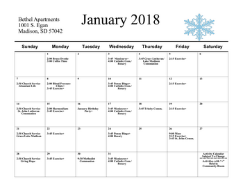 Activity Calendar of Bethel Lutheran Home, Assisted Living, Nursing Home, Independent Living, CCRC, Madison, SD 6