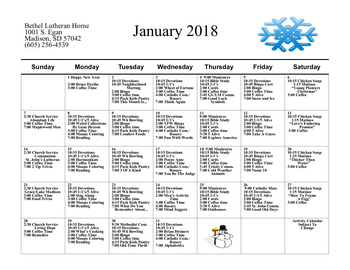 Activity Calendar of Bethel Lutheran Home, Assisted Living, Nursing Home, Independent Living, CCRC, Madison, SD 7