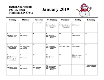 Activity Calendar of Bethel Lutheran Home, Assisted Living, Nursing Home, Independent Living, CCRC, Madison, SD 10