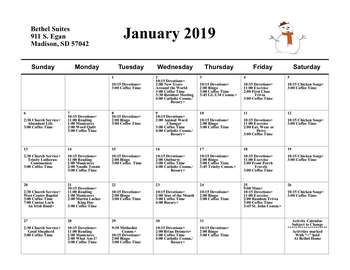 Activity Calendar of Bethel Lutheran Home, Assisted Living, Nursing Home, Independent Living, CCRC, Madison, SD 12