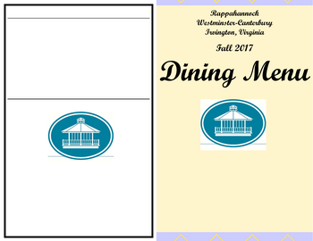 Dining menu of Rappahannock Westminster Canterbury, Assisted Living, Nursing Home, Independent Living, CCRC, Irvington, VA 1