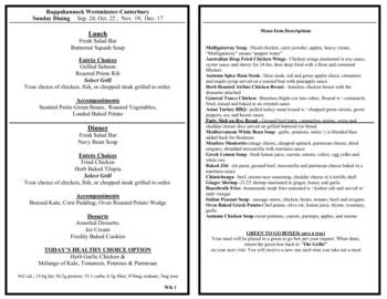 Dining menu of Rappahannock Westminster Canterbury, Assisted Living, Nursing Home, Independent Living, CCRC, Irvington, VA 2