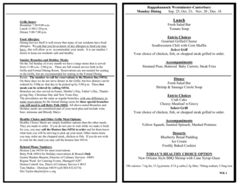 Dining menu of Rappahannock Westminster Canterbury, Assisted Living, Nursing Home, Independent Living, CCRC, Irvington, VA 3
