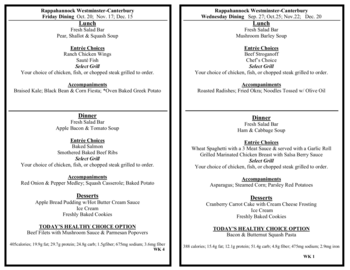 Dining menu of Rappahannock Westminster Canterbury, Assisted Living, Nursing Home, Independent Living, CCRC, Irvington, VA 5