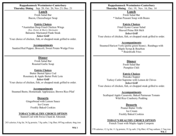 Dining menu of Rappahannock Westminster Canterbury, Assisted Living, Nursing Home, Independent Living, CCRC, Irvington, VA 6