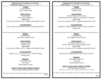 Dining menu of Rappahannock Westminster Canterbury, Assisted Living, Nursing Home, Independent Living, CCRC, Irvington, VA 7