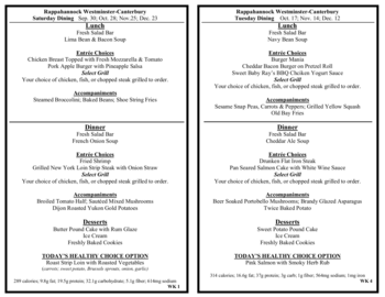 Dining menu of Rappahannock Westminster Canterbury, Assisted Living, Nursing Home, Independent Living, CCRC, Irvington, VA 8