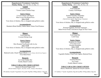 Dining menu of Rappahannock Westminster Canterbury, Assisted Living, Nursing Home, Independent Living, CCRC, Irvington, VA 9