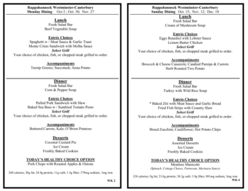 Dining menu of Rappahannock Westminster Canterbury, Assisted Living, Nursing Home, Independent Living, CCRC, Irvington, VA 10