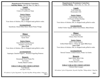 Dining menu of Rappahannock Westminster Canterbury, Assisted Living, Nursing Home, Independent Living, CCRC, Irvington, VA 11