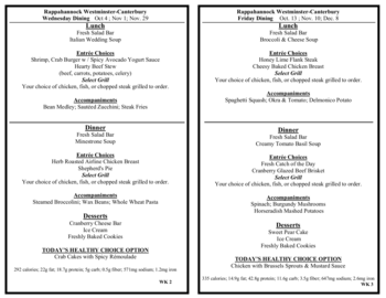Dining menu of Rappahannock Westminster Canterbury, Assisted Living, Nursing Home, Independent Living, CCRC, Irvington, VA 12