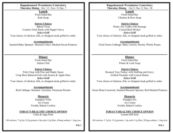 Dining menu of Rappahannock Westminster Canterbury, Assisted Living, Nursing Home, Independent Living, CCRC, Irvington, VA 13