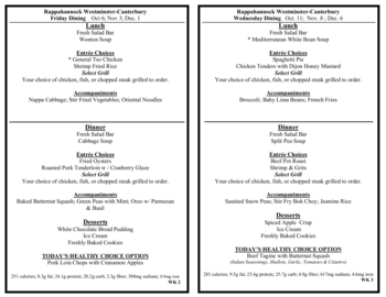 Dining menu of Rappahannock Westminster Canterbury, Assisted Living, Nursing Home, Independent Living, CCRC, Irvington, VA 14