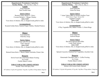 Dining menu of Rappahannock Westminster Canterbury, Assisted Living, Nursing Home, Independent Living, CCRC, Irvington, VA 15