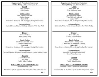 Dining menu of Rappahannock Westminster Canterbury, Assisted Living, Nursing Home, Independent Living, CCRC, Irvington, VA 16