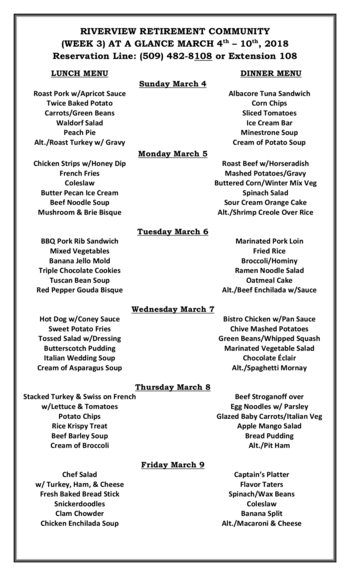 Dining menu of Riverview Retirement Community, Assisted Living, Nursing Home, Independent Living, CCRC, Spokane, WA 1