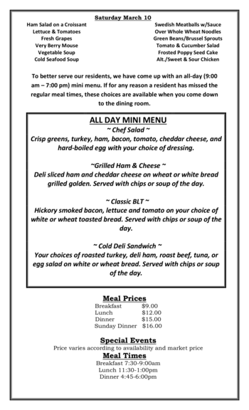 Dining menu of Riverview Retirement Community, Assisted Living, Nursing Home, Independent Living, CCRC, Spokane, WA 2