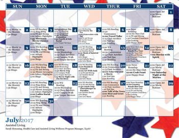 Activity Calendar of Asbury Solomons, Assisted Living, Nursing Home, Independent Living, CCRC, Solomons, MD 1