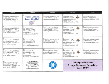 Activity Calendar of Asbury Solomons, Assisted Living, Nursing Home, Independent Living, CCRC, Solomons, MD 5