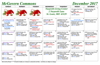 Activity Calendar of Nazareth Living Center, Assisted Living, Nursing Home, Independent Living, CCRC, St. Louis, MO 1