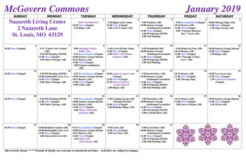 Activity Calendar of Nazareth Living Center, Assisted Living, Nursing Home, Independent Living, CCRC, St. Louis, MO 2