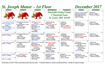Activity Calendar of Nazareth Living Center, Assisted Living, Nursing Home, Independent Living, CCRC, St. Louis, MO 3