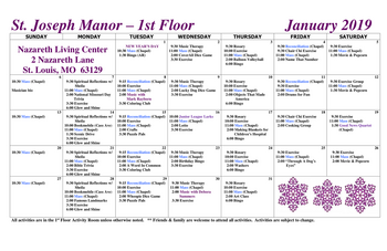 Activity Calendar of Nazareth Living Center, Assisted Living, Nursing Home, Independent Living, CCRC, St. Louis, MO 4