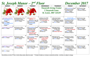 Activity Calendar of Nazareth Living Center, Assisted Living, Nursing Home, Independent Living, CCRC, St. Louis, MO 5