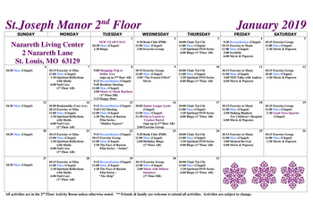 Activity Calendar of Nazareth Living Center, Assisted Living, Nursing Home, Independent Living, CCRC, St. Louis, MO 6