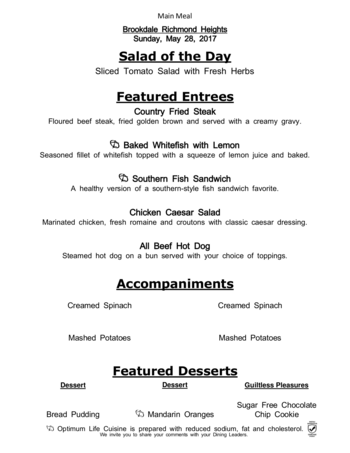 Dining menu of Richmond Heights Place, Assisted Living, Nursing Home, Independent Living, CCRC, Richmond Heights, OH 1
