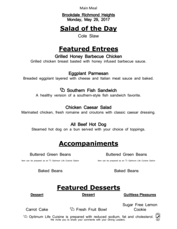 Dining menu of Richmond Heights Place, Assisted Living, Nursing Home, Independent Living, CCRC, Richmond Heights, OH 2