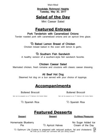Dining menu of Richmond Heights Place, Assisted Living, Nursing Home, Independent Living, CCRC, Richmond Heights, OH 3