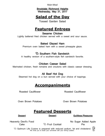 Dining menu of Richmond Heights Place, Assisted Living, Nursing Home, Independent Living, CCRC, Richmond Heights, OH 4