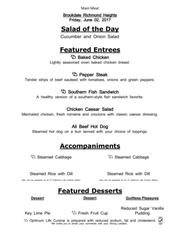 Dining menu of Richmond Heights Place, Assisted Living, Nursing Home, Independent Living, CCRC, Richmond Heights, OH 6