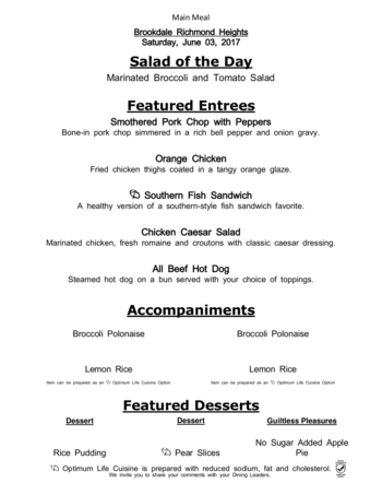 Dining menu of Richmond Heights Place, Assisted Living, Nursing Home, Independent Living, CCRC, Richmond Heights, OH 7