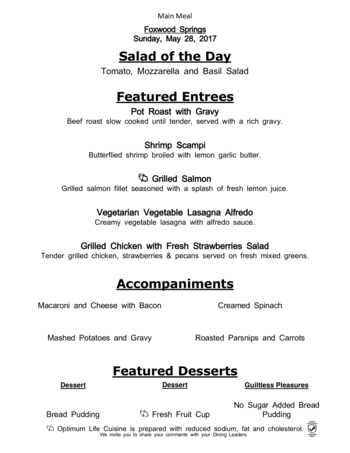 Dining menu of Brookdale Foxwood Springs, Assisted Living, Nursing Home, Independent Living, CCRC, Raymore, MO 1