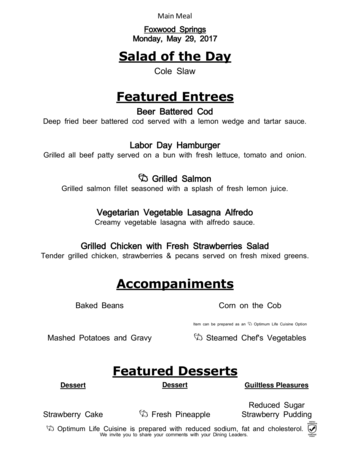 Dining menu of Brookdale Foxwood Springs, Assisted Living, Nursing Home, Independent Living, CCRC, Raymore, MO 2