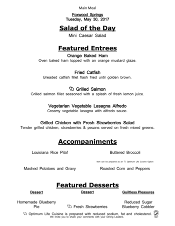 Dining menu of Brookdale Foxwood Springs, Assisted Living, Nursing Home, Independent Living, CCRC, Raymore, MO 3