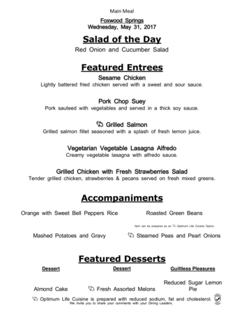 Dining menu of Brookdale Foxwood Springs, Assisted Living, Nursing Home, Independent Living, CCRC, Raymore, MO 4