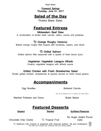 Dining menu of Brookdale Foxwood Springs, Assisted Living, Nursing Home, Independent Living, CCRC, Raymore, MO 5