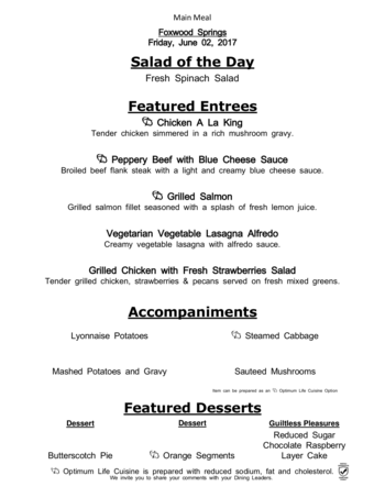 Dining menu of Brookdale Foxwood Springs, Assisted Living, Nursing Home, Independent Living, CCRC, Raymore, MO 6