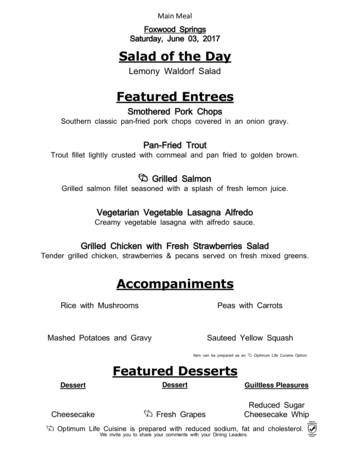 Dining menu of Brookdale Foxwood Springs, Assisted Living, Nursing Home, Independent Living, CCRC, Raymore, MO 7